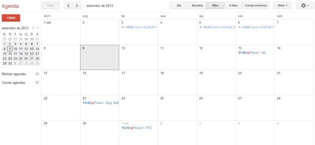 Minha agenda do Google