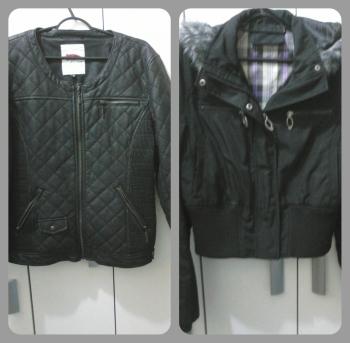 Jaqueta nova à esquerda, jaqueta velha à direita